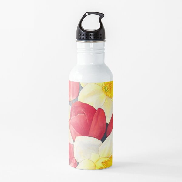 Spring Flowers, Tulips and Daffodils Watercolour Water Bottle