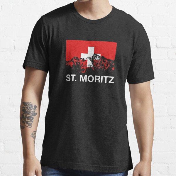 St. Moritz Switzerland Swiss Flag SKI Essential T-Shirt