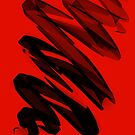 3D Black Scribble on Red Background by Samm Poirier