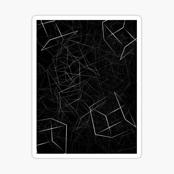 3D white Boxes on Black Background Sticker