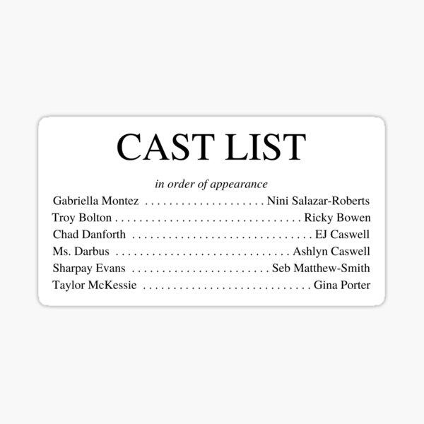 HSMTMTS Cast List Sticker
