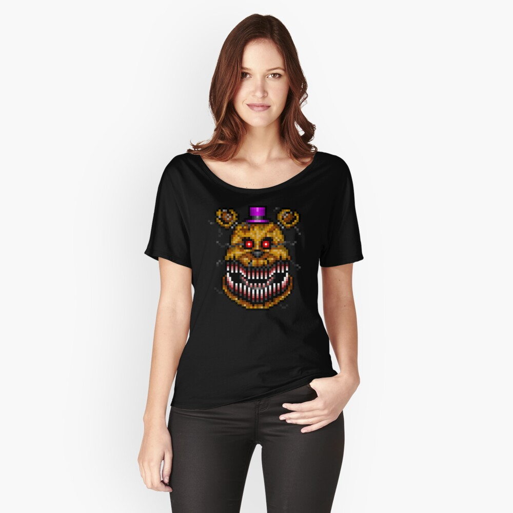Five Nights at Freddys 4 - Nightmare Fredbear - Pixel art Women's Relaxed Fit T-Shirt Front