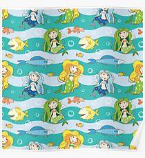 Pattern with mermaids. Poster