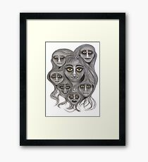 'Crowded Head' - moods & madness. Framed Print