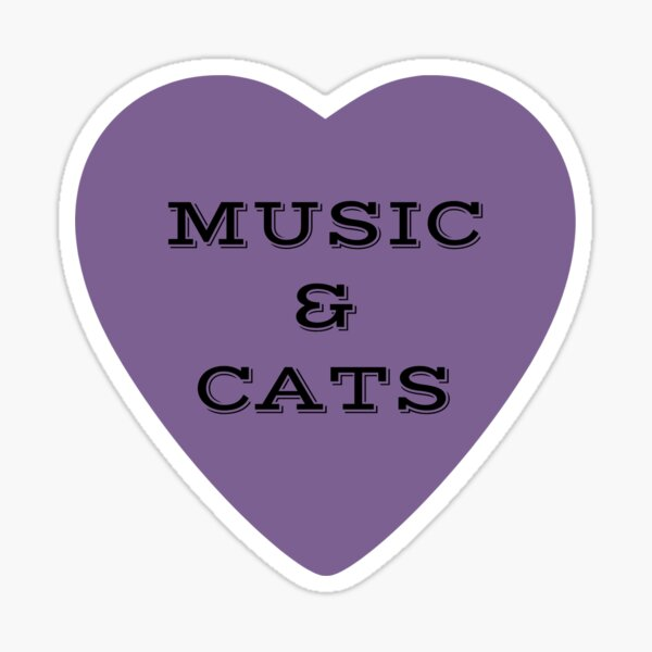 Music and Cats Purple Heart Sticker