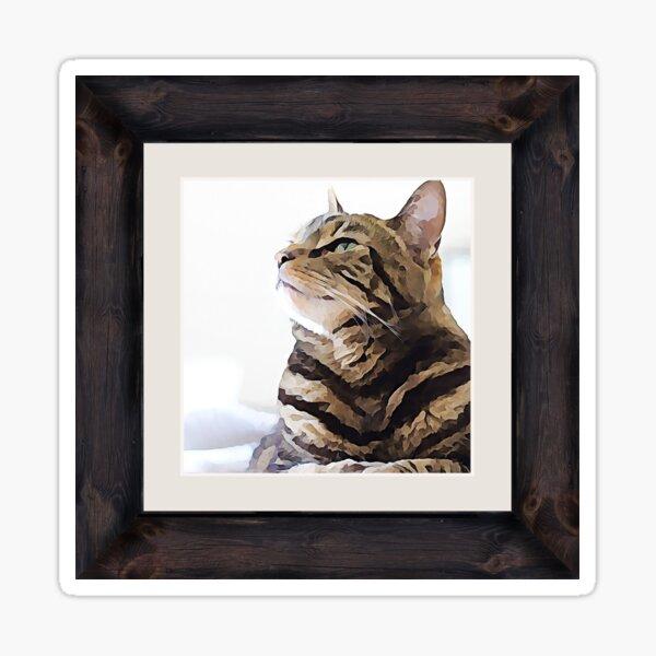 Tabby Cat Framed Gallery Art Picture Digital Art Sticker