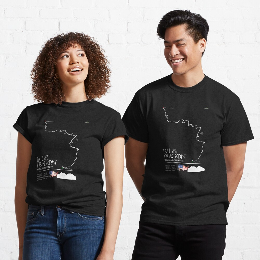 Tail of the Dragon Road US 129 Motorcycle Sports Car Trail Map Art Print Classic T-Shirt
