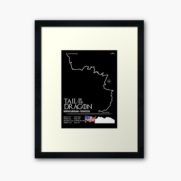 Tail of the Dragon Road US 129 Motorcycle Sports Car Trail Map Art Print Framed Art Print