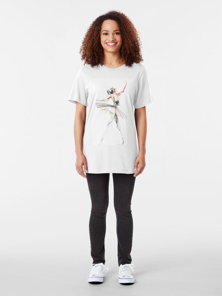 Alternate view of Expressive Dancer Dance Drawing Slim Fit T-Shirt