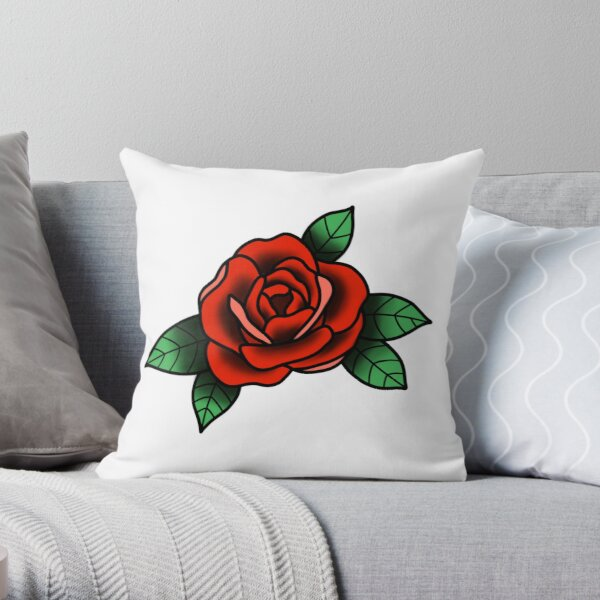 Traditional Tattoo-Style Rose Throw Pillow