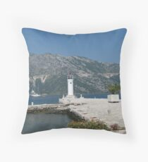 Lighthouse in Perast Throw Pillow
