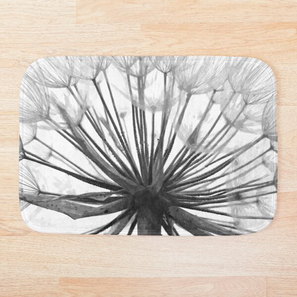 Black and White Dandelion Bath Mat