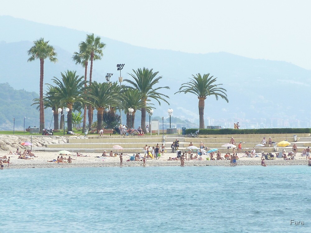 Distant palms in Menton. by Fara