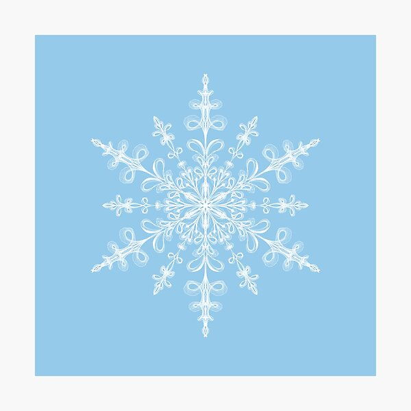 White Snowflake on Light Blue Photographic Print