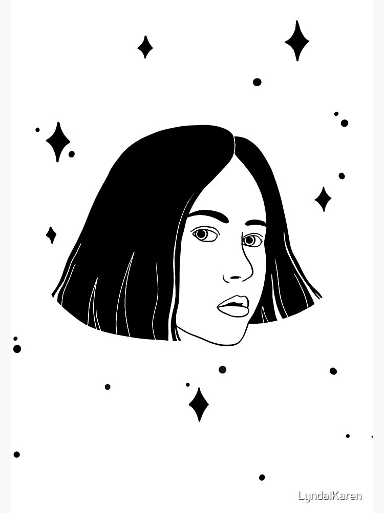 Black and White Space Girl with Stars by LyndalKaren