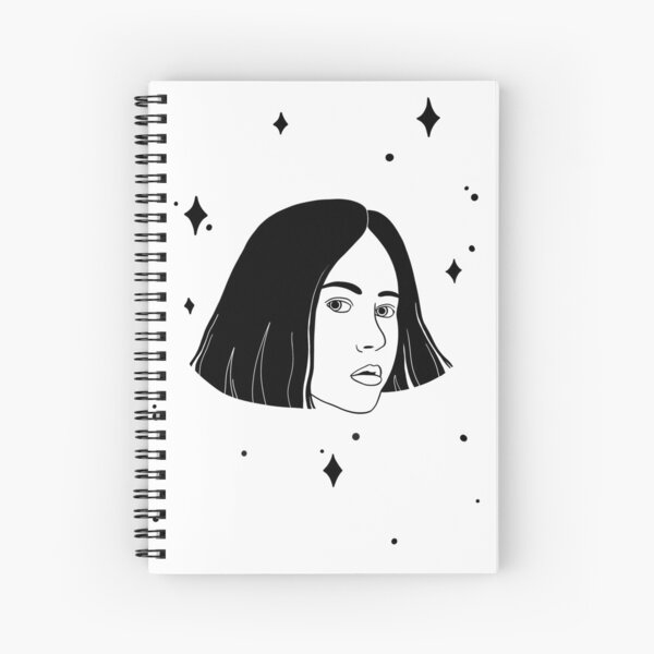 Black and White Space Girl with Stars Spiral Notebook