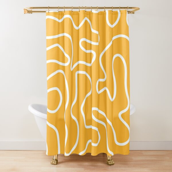 Squiggle Maze Minimalist Abstract Pattern in White and Mustard Yellow Shower Curtain
