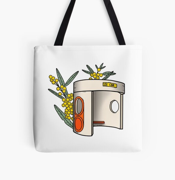 Canberra Bus Stop with Wattle Flowers All Over Print Tote Bag
