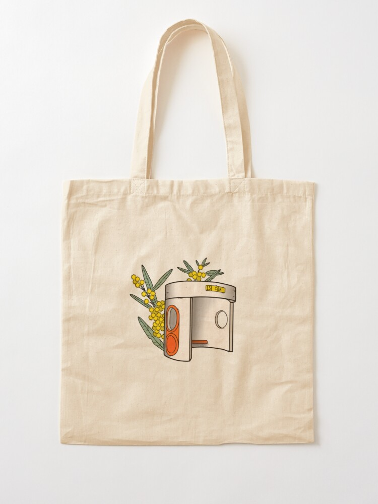 Alternate view of Canberra Bus Stop with Wattle Flowers Tote Bag