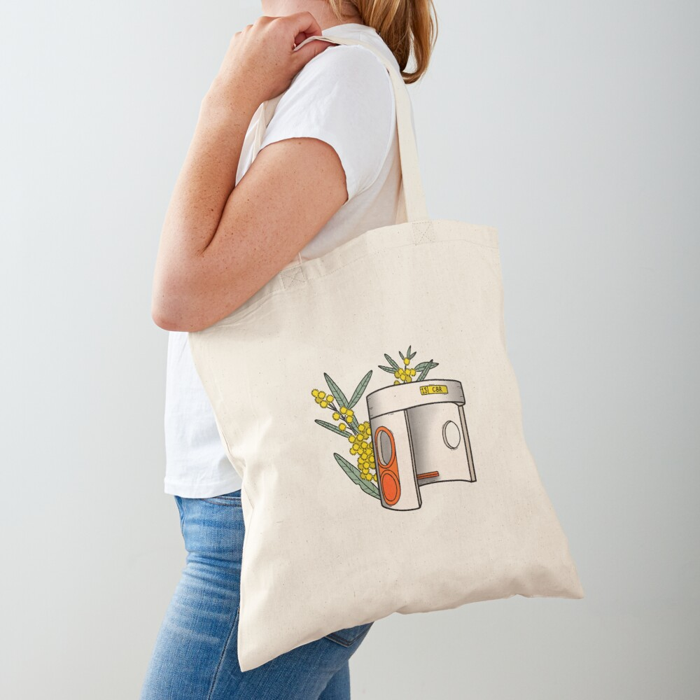 Canberra Bus Stop with Wattle Flowers Tote Bag