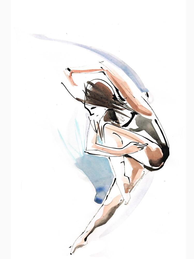Original Jump Ballet Dance Drawing  by CatarinaGarcia
