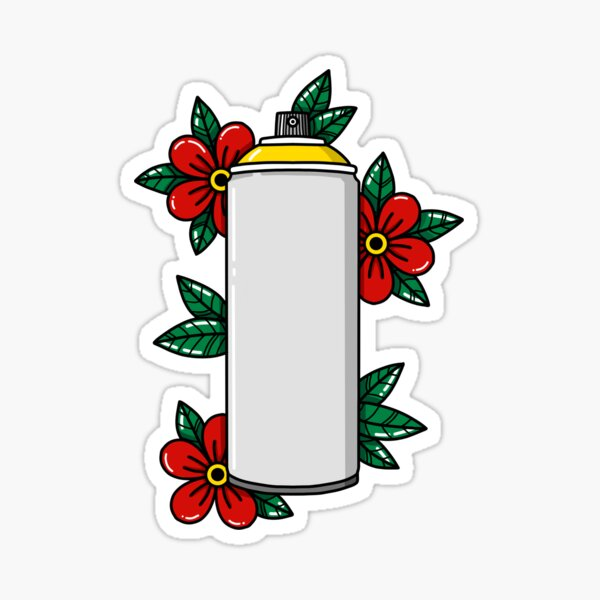 Spray Paint Can With Flowers Sticker