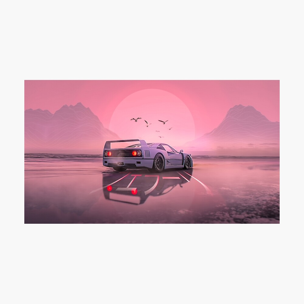 Retro Wave Arcade Neon Ferrari F40 Poster Von Denso Redbubble