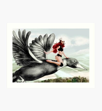 Arual the Elf flying on a goose Art Print