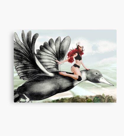 Arual the Elf flying on a goose Metal Print