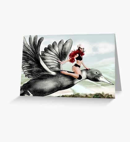 Arual the Elf flying on a goose Greeting Card