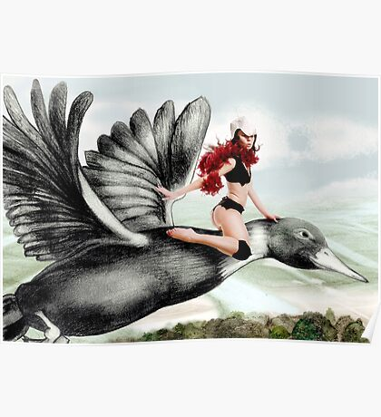 Arual the Elf flying on a goose Poster