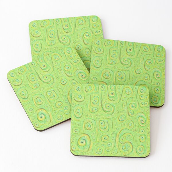 Deep Dreaming of a Green World 4K Coasters (Set of 4)