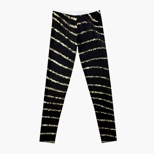 preppy contemporary minimalist abstract gold and black lines Leggings