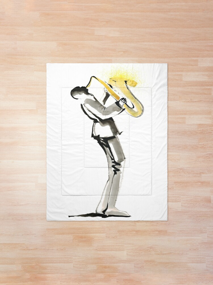 Alternate view of Musician Saxophonist Drawing Series Comforter