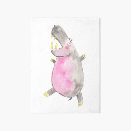 Happy Hippo Art Board Print