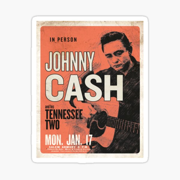 Johnny Cash & His Tennessee Two Vintage Concert Poster Sticker