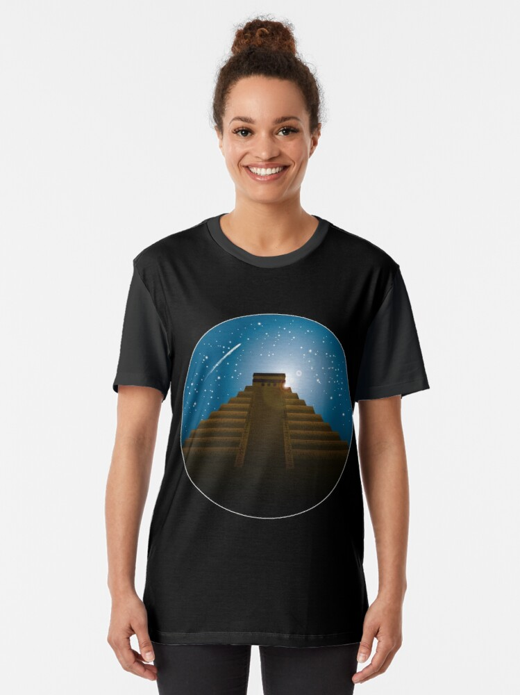 Alternate view of Mayan Temple Graphic T-Shirt