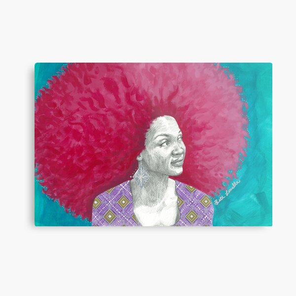 Afro Halo Pink and Turquoise Metal Print