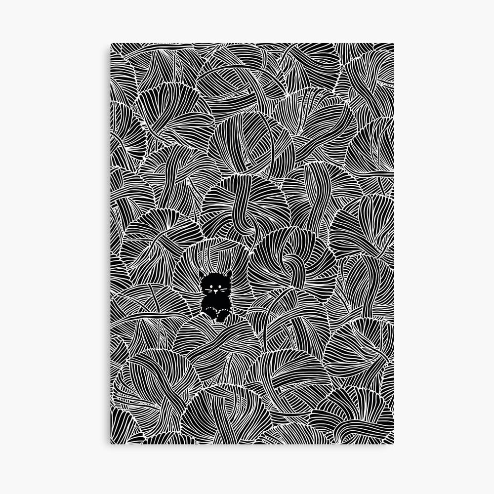 Yarn Ball Pit en negro Lienzo