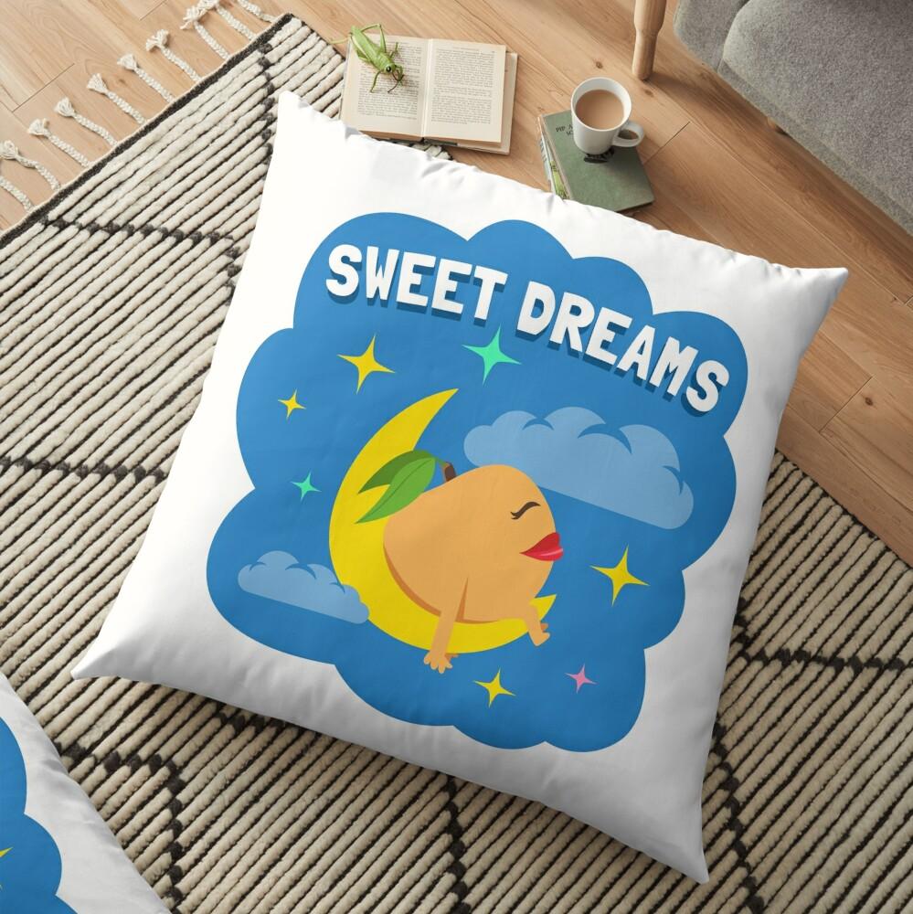Sweet Dreams Peach Emoji JoyPixels Good Night Cartoon Floor Pillow