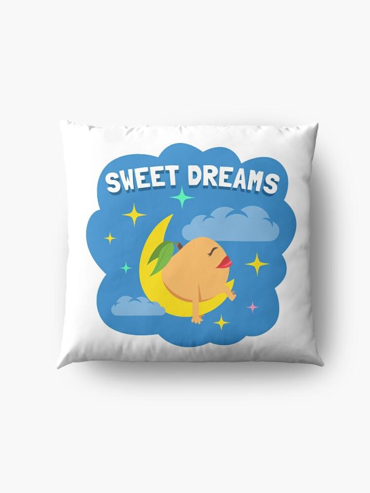 Alternate view of Sweet Dreams Peach Emoji JoyPixels Good Night Cartoon Floor Pillow