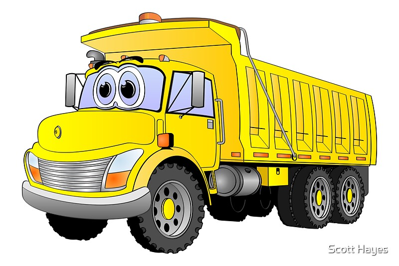 Quot Yellow Dump Truck 3 Axle Cartoon Quot By Graphxpro Redbubble
