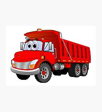 Red Dump Truck 3 Axle Cartoon Photographic Print
