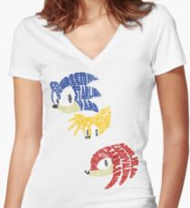 Sonic, Tails & Knuckles Women's Fitted V-Neck T-Shirt