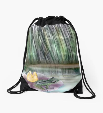 The elf and the Frog Drawstring Bag
