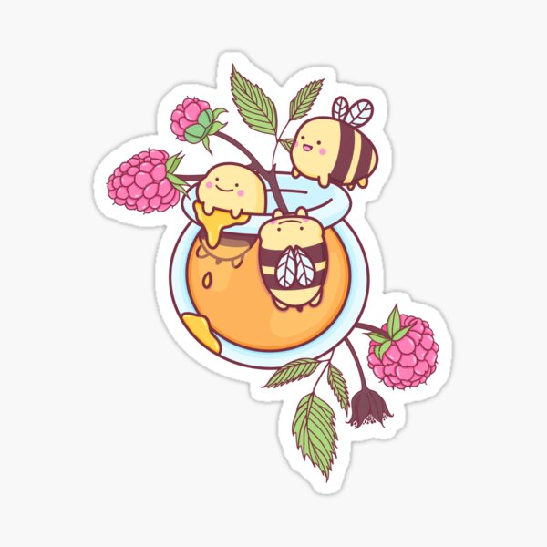 Happy Bees in a Honey Jar Sticker