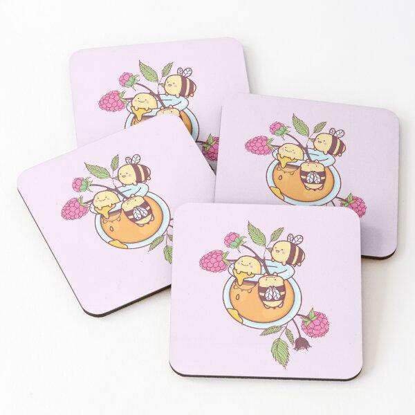 Happy Bees in a Honey Jar Coasters (Set of 4)