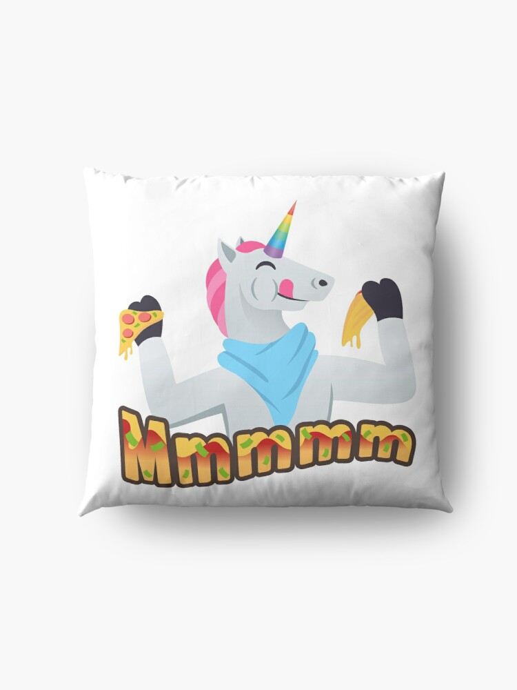 Alternate view of Pizza Lover Unicorn Emoji Loving Pizza Cartoon Floor Pillow