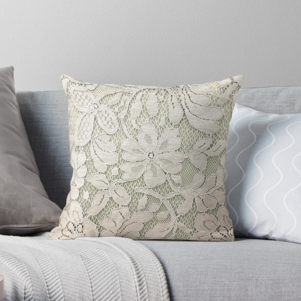 bohemian floral french country ivory beige lace Throw Pillow