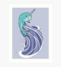 Narwhal Surf Art Print